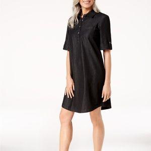 Karen Scott Petite Cotton Chambray Shirtdress, PS